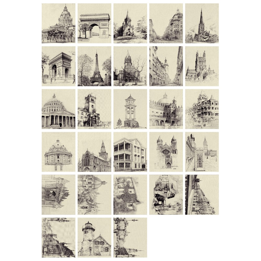 Amazon com 28pc kraft paper creative post cards set pencil sketch painted greeting cards office products