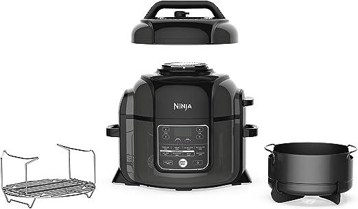 Ninja OP302 Foodi Cooker, Steamer & Air w/TenderCrisp Technology Pressure Cooker & Air Fryer All-in-One, 6.5 quart w/dehydrate, Black/Gray
