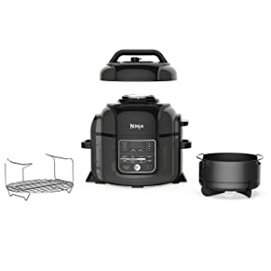 Ninja Foodi OP302 1400-Watt Programmable Pressure Cooker, Air Fryer, Multi Cooker, Dehydrator, Slow Cooker w/TenderCrisp Technology, Pressure/Crisping Lid, 6.5 Qt Pot, 4 Qt Air Fry Basket, Black/Gray