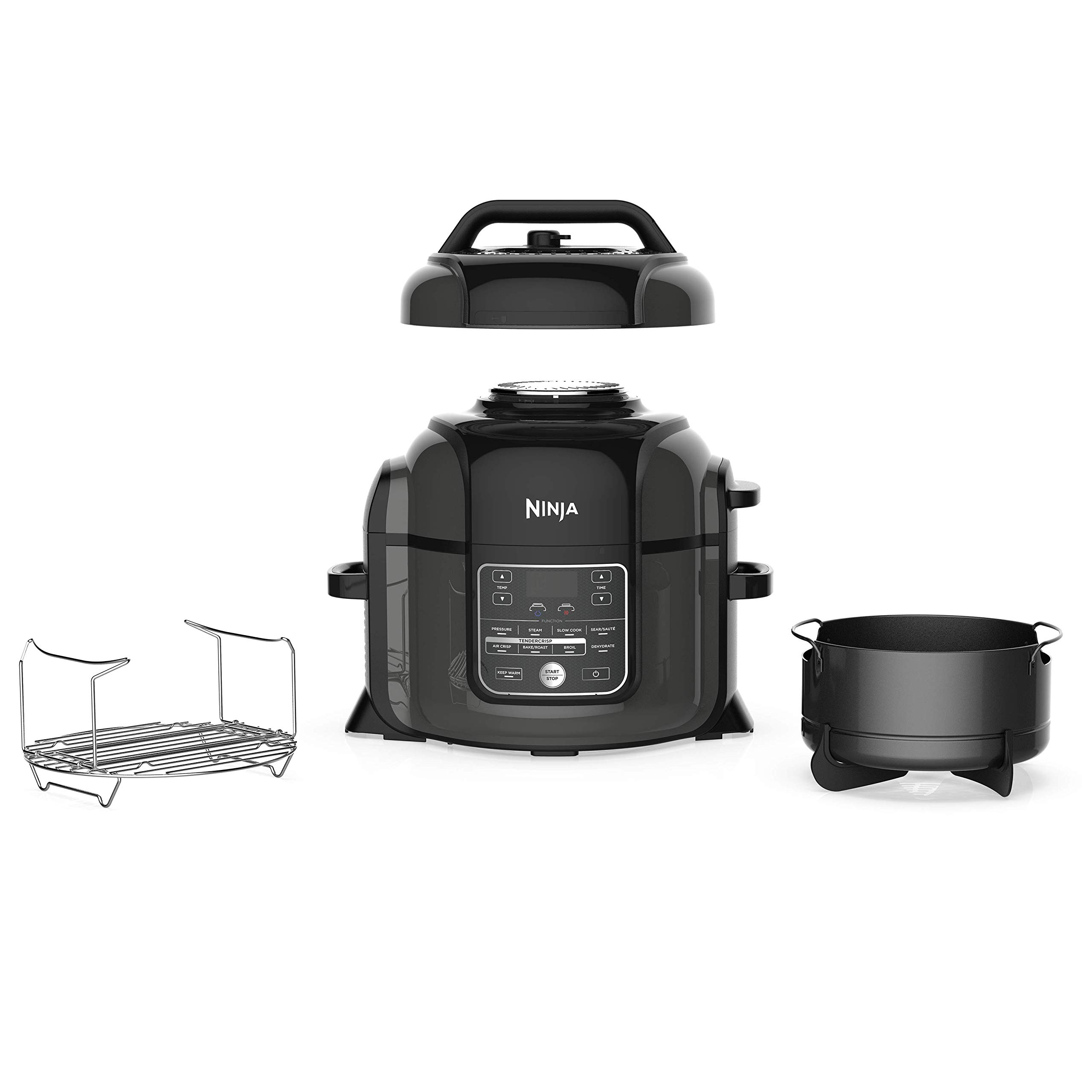 Ninja OP302 Foodi Cooker, Steamer & Air w/TenderCrisp Technology Pressure Cooker & Air Fryer All-in-One, 6.5 quart w/dehydrate, Black/Gray product image