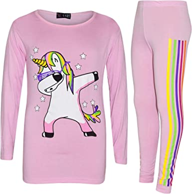 A2Z 4 Kids/® Kids Girls Designers Rainbow Unicron Dab Floss Grey Long Sleeves Top /& Legging Lounge Wear Outfit Set New Age 7 8 9 10 11 12 13 Years