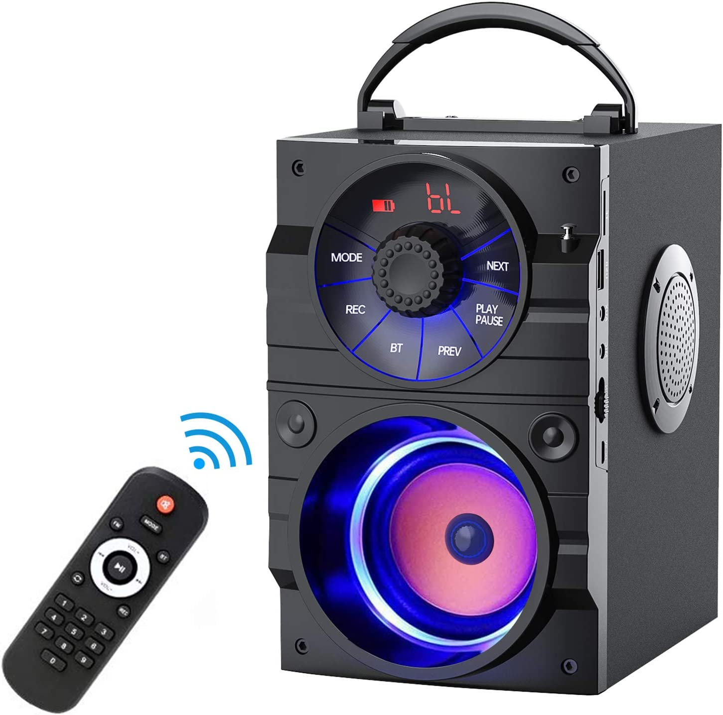 EIFER Portable Bluetooth Speaker Subwoofer Heavy Bass Wireless Outdoor Party Speaker MP3 Player Line in Speakers Support Remote Control FM Radio TF Card LCD Display for Home Party Phone (A9-1)