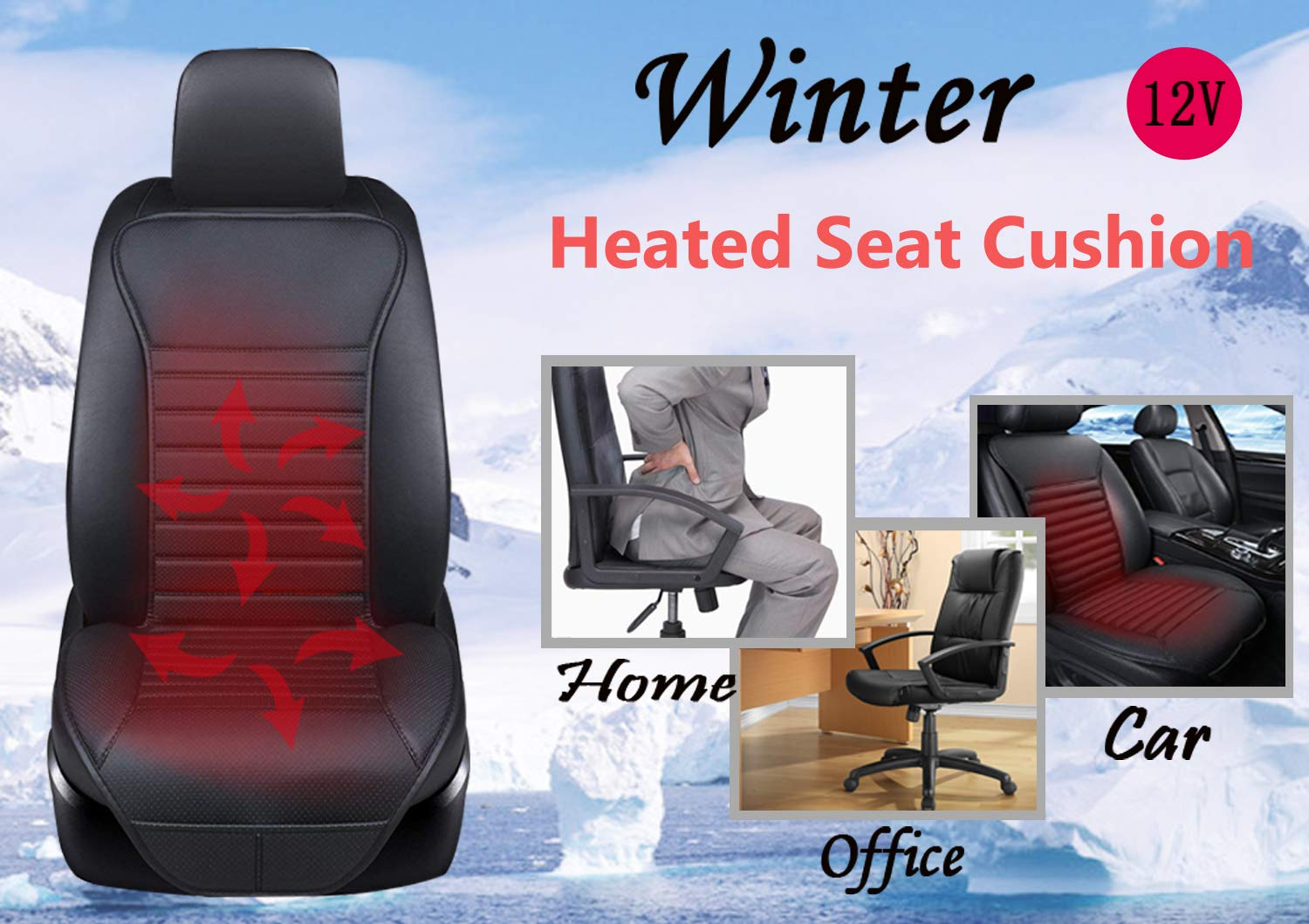 Universal Fit for Auto Supplies Home Office Chair 12V Sleek Design Nonslip Car Heat Seat Cushions Cover Pad Winter Warmer Black Big Ant Heated Seat Cushion