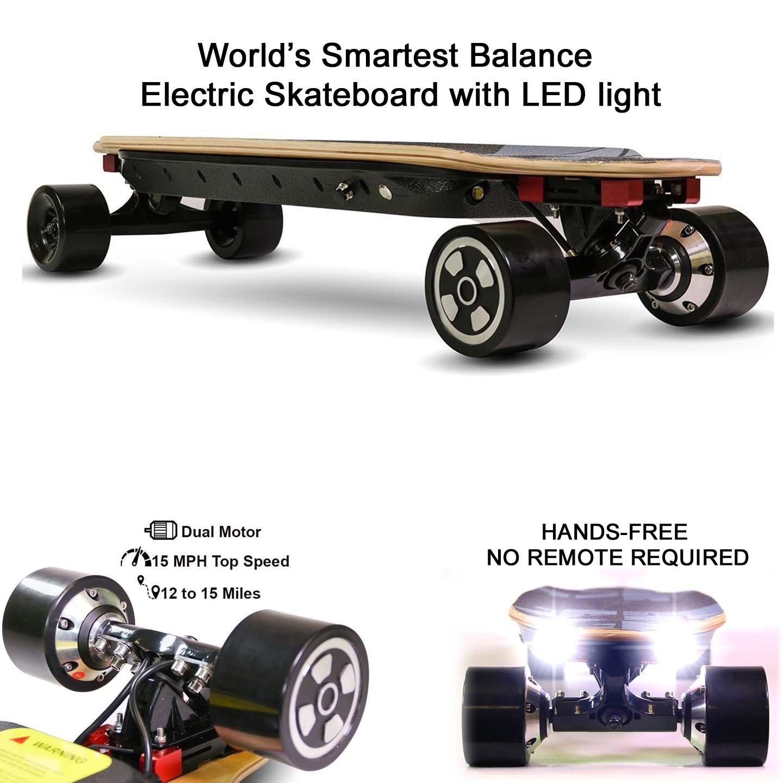 NEJA Electric Skateboard, 32 Inch Electric Longboard | 15MPH Max Speed | Gyroscope Self-Balancing Skateboard, Motorized Skateboard with LED Light, NO REMOTE NEED