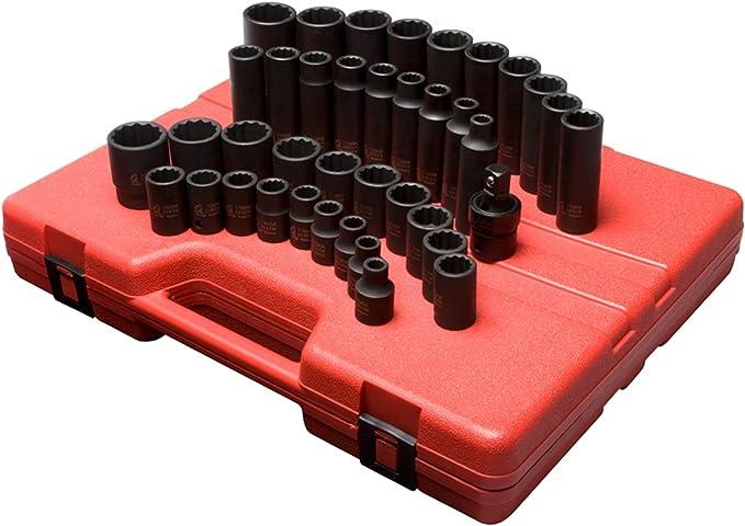 19 Piece Sunex Tools 2819 Steel SAE 12 Point Impact Socket Set 1//2 Inch Drive