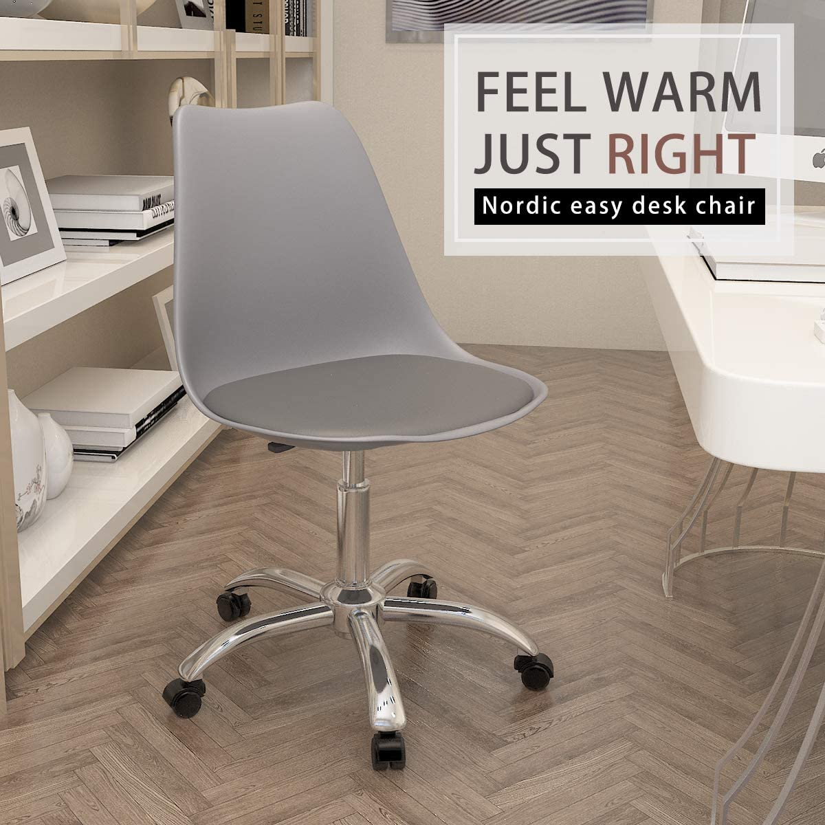 Desk Chairs Home Kitchen Euco Desk Chair For Home Grey Office Chair Comfy Padded Leather Computer Chair Adjustable Height Swivel Chair With Chrome Base Home Office Furniture