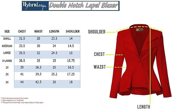 Women Double Notch Lapel Sharp Shoulder Pad Office Blazer