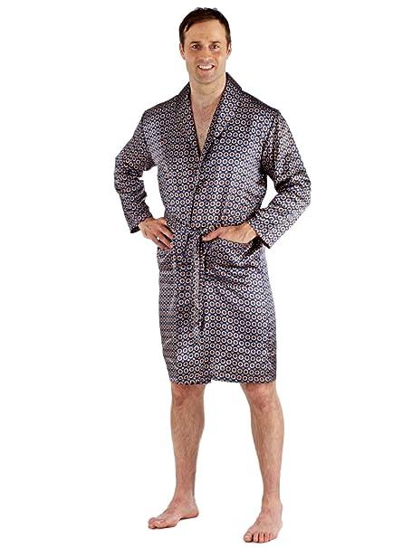 Hombre Satén Silky Cruzado Bata Conjunto Pijama Pjs Largo Pijama Verano 9725 - sintético, Azul