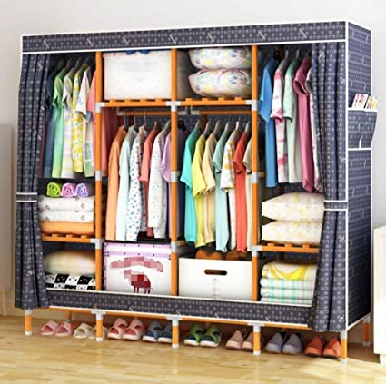 Portable Wardrobe Storage Solid Wood Oxford Cloth Closet Organizer Storage  With Cover Moistureproof And Waterproof Large