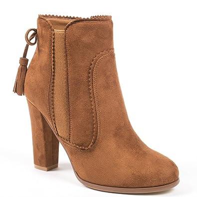 71bd13862f89f Ideal Shoes Bottines à Talon carré Effet Daim Avec Frange à l arrière  Miriana Camel