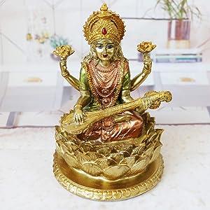 BangBangDa Hindu Lord Goddess Saraswati Statue - Indian Idol Sitting on Lotus Sculpture - India Knowledge, Music, Arts, Wisdom Figurine