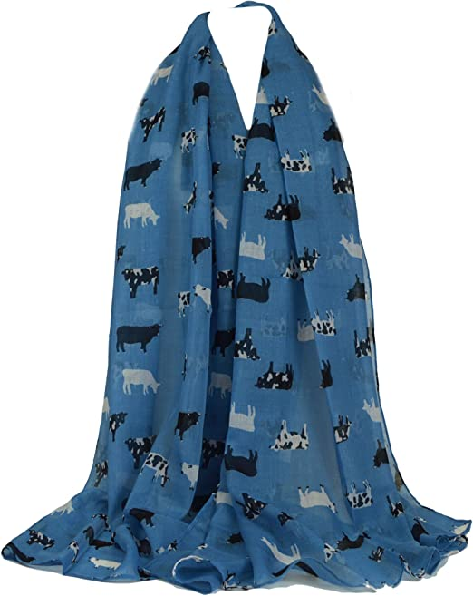 Farm Animals Cow Horse Dog Print Scarf  Wrap Summer Fashion Scarves Gift Idea