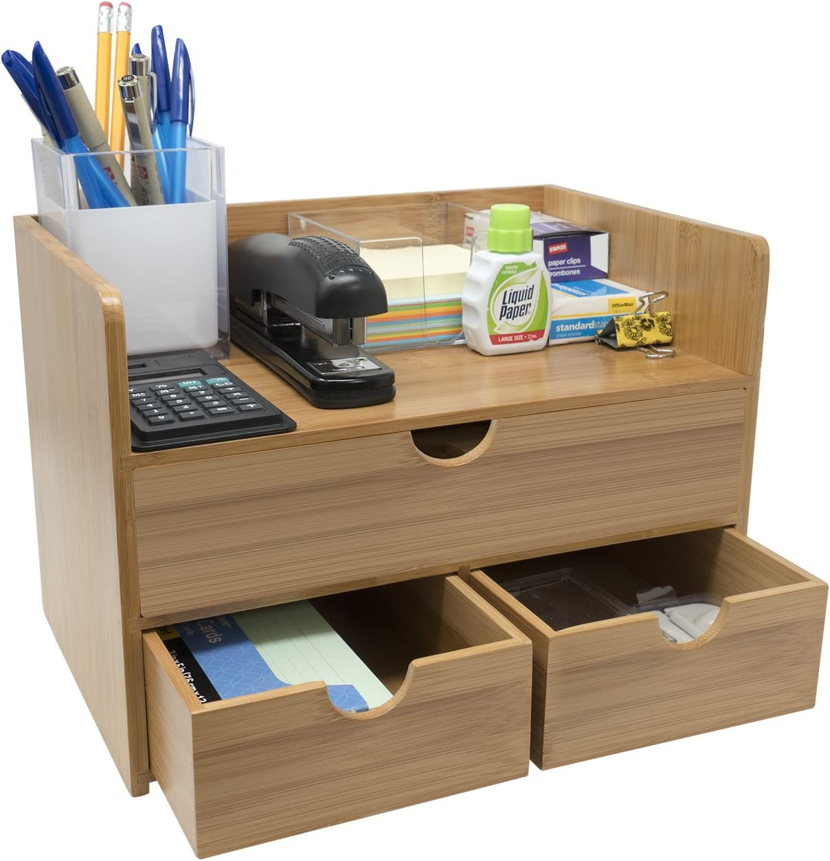 Sorbus 33-Tier Bamboo Shelf Organizer for Desk with Drawers — Mini Desk  Storage for Office Supplies, Toiletries, Crafts, etc — Great for Desk,  Vanity,
