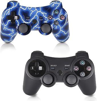 Controlador inal/ámbrico PS3 de Doble Choque para Playstation 3 Controlador PS3 Controlador de Seis Ejes con Cable de Carga y empu/ñaduras