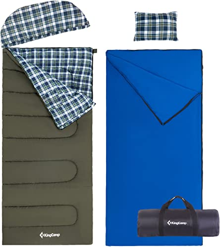 KingCamp 3-in-1 Cotton Adult Alpine 3 Season Sleeping Bag with Removable Cotton Flannel Liner and Pillow.
