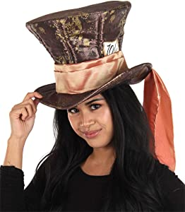 elope Disney Mad Hatter Hat for Adult Men and Women Brown