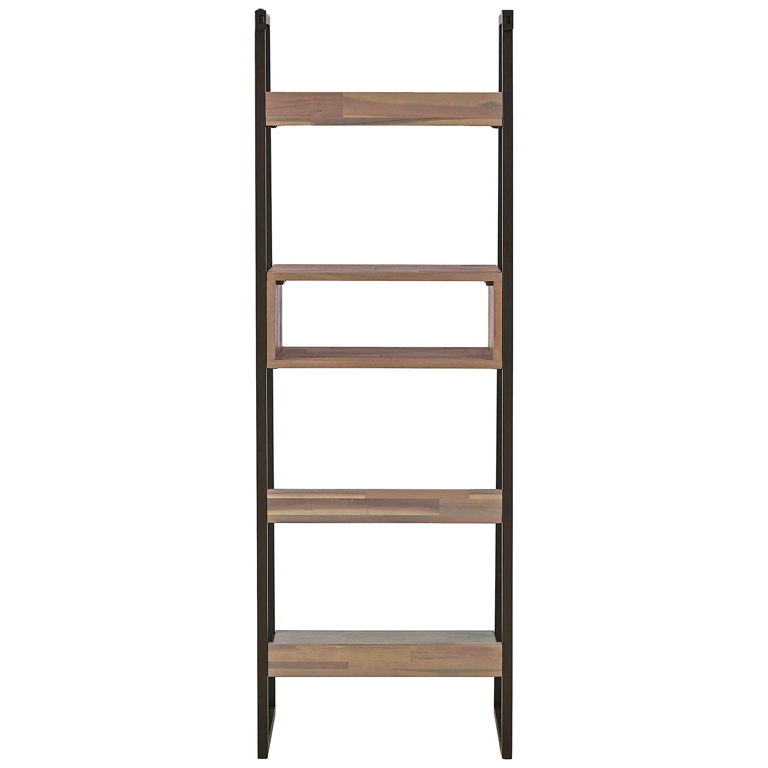 Rivet Roxmere Modern Bookcase, 23.6''W, Acacia, Sandblast Gray by Rivet (Image #4)