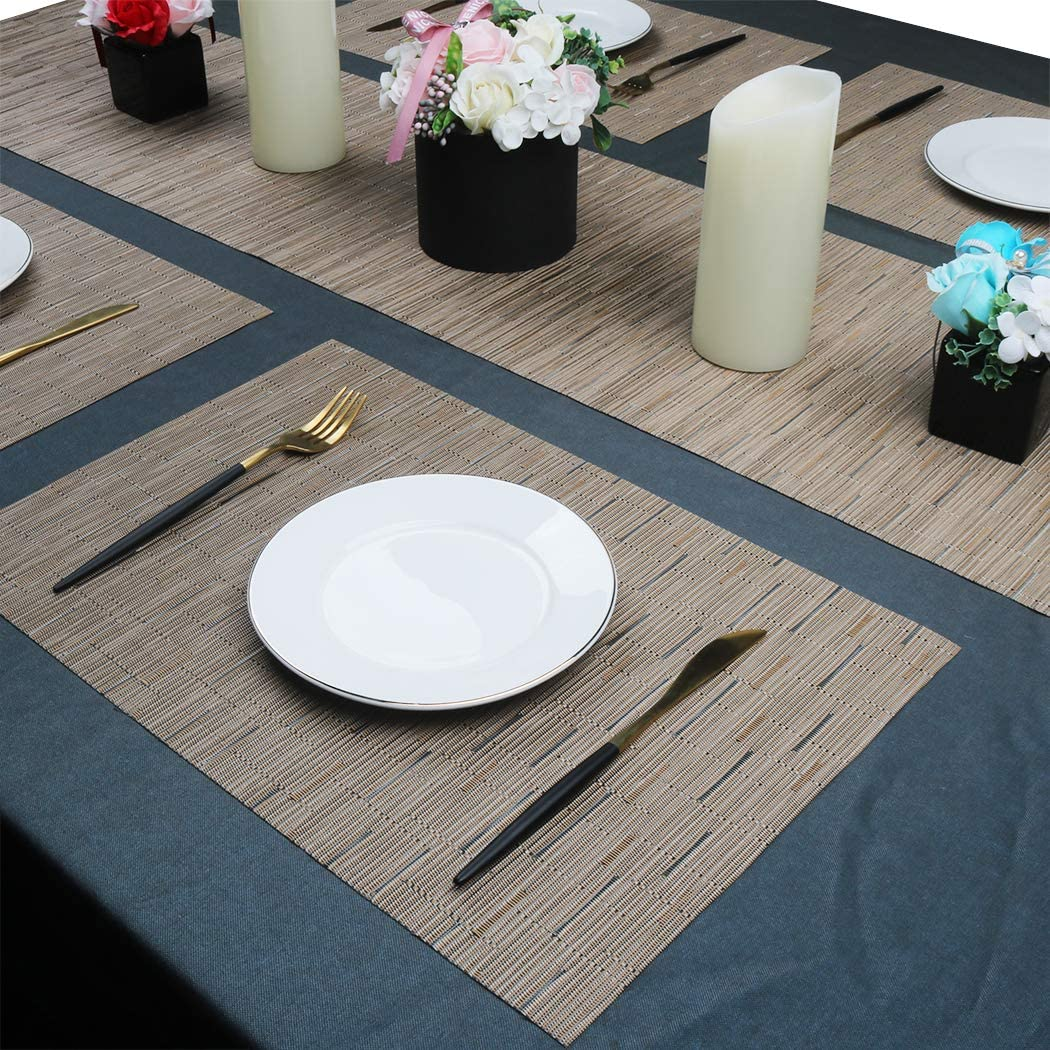 """12/"""" x 71/"""" PABUSIOR Woven Vinyl Runner for Dining Table Durable Easy to Clean Kitchen Table Runners,"""