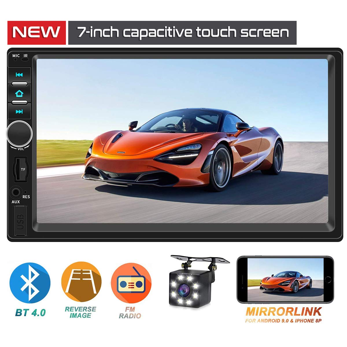 Double Din Car Stereo,TouchScreen Car MP5/4/3 Player with Rear-View Camera,FM Radio Receiver, Bluetooth Audio and Calling, Mirror Link,Support Steering Wheel Remote Control,Support Android & iPhone by ASUKALA
