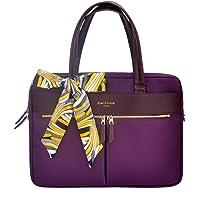 Bolsa de mano para laptop, de moda, para mujer, bolsa de hombro para negocios de trabajo, bloqueo RFID, ultradelgada, de nailon, bolso estilo bandolera para MacBook Ultrabook de 15 pulgadas, Púrpura
