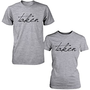 cc313644 Amazon.com: Cute Taken Matching Couple T-Shirts Funny Gift for Couples and  Newlyweds: Clothing
