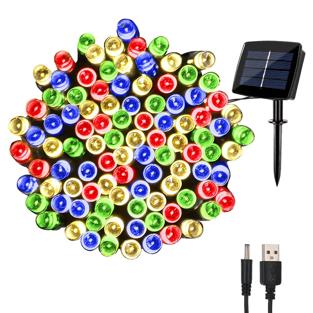 woohaha Solar Christmas Fairy String Lights Outdoor Waterproof, 72ft 200LED Updated Version 6hrs Timer Function with USB Cable Solar Powered LED Lights Wire for Patio Garden Party(Multi Color)