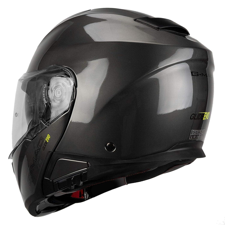 color gris Casco de moto con tapa frontal G-Mac Glide Evo