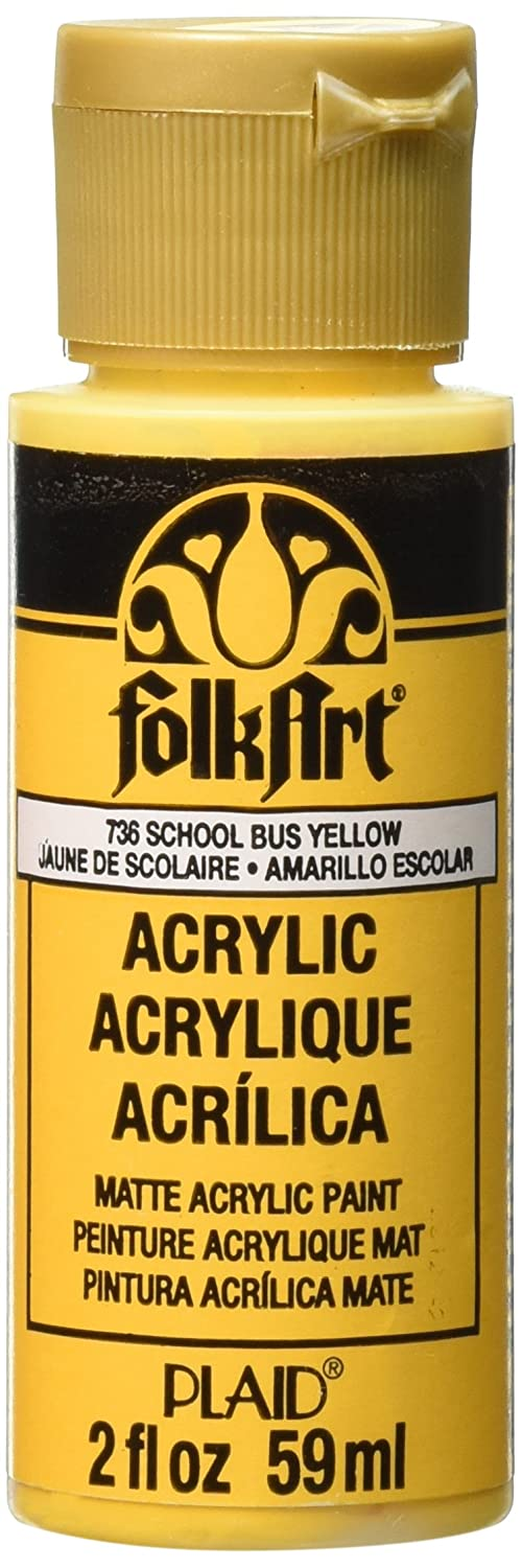 Folkart Acrylic Paint In Assorted Colors 2 Oz 736 School Bus Yellow