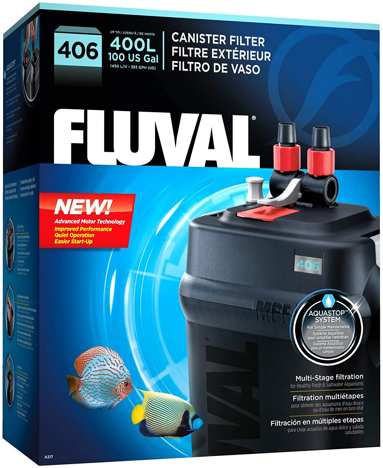 Amazon.com : Fluval 406 A217 Filter w/Biomax, Phosphate Remover & Pre-Filter 12mo : Pet Supplies