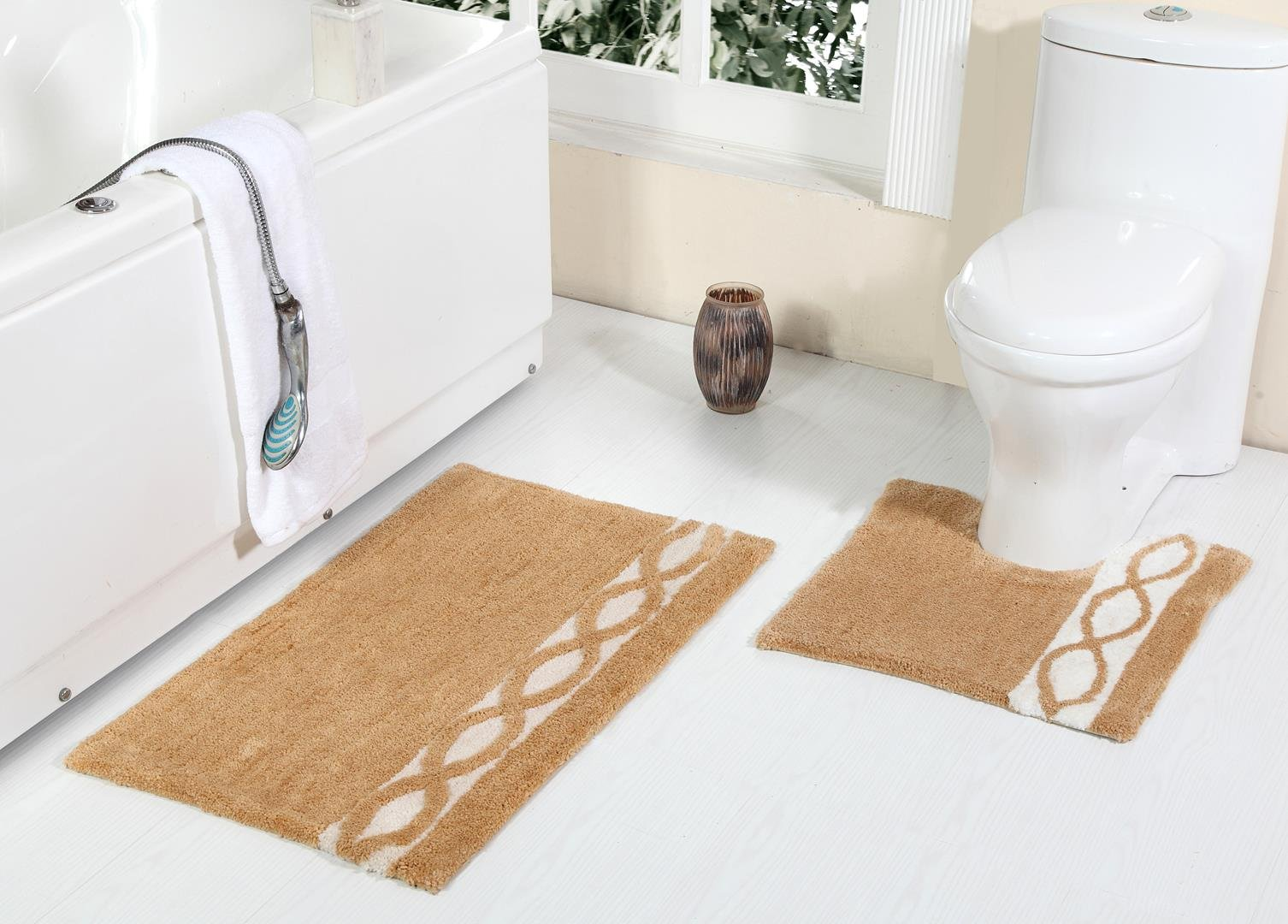 WARISI Pedestal Collection - 2 Piece Designer Plush Wave Bath Rug + Contour (Toilet seat foot rug) (34''x21'', Beige)