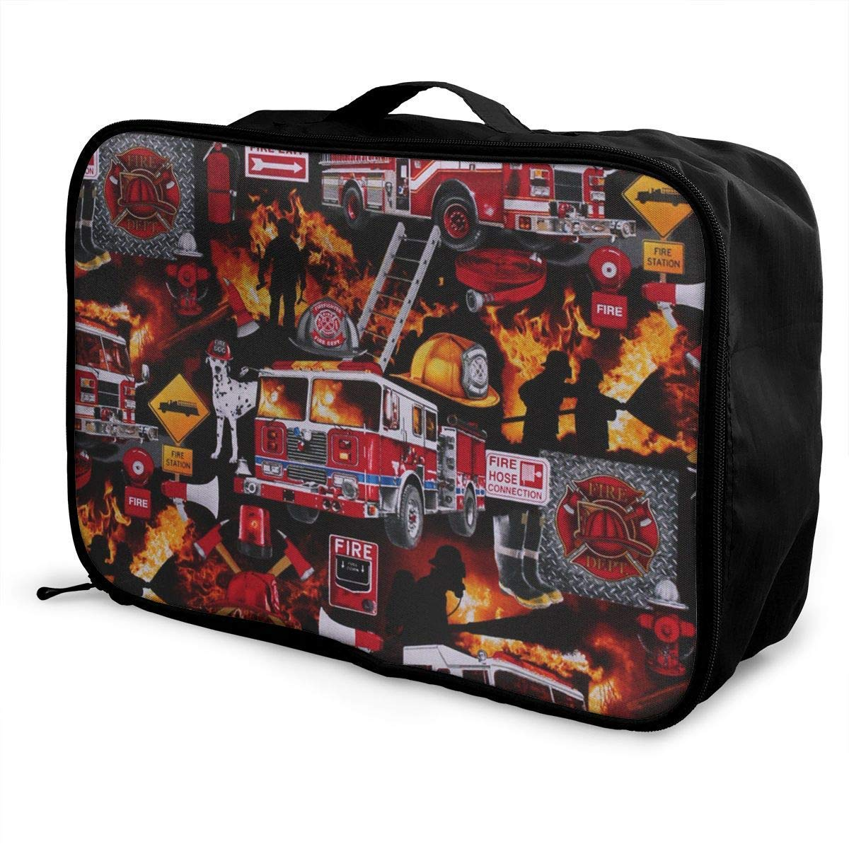 JTRVW Luggage Bags for Travel Portable Luggage Duffel Bag Firefighter Equipment Dalmatian Dog Fire Travel Bags Carry-on in Trolley Handle