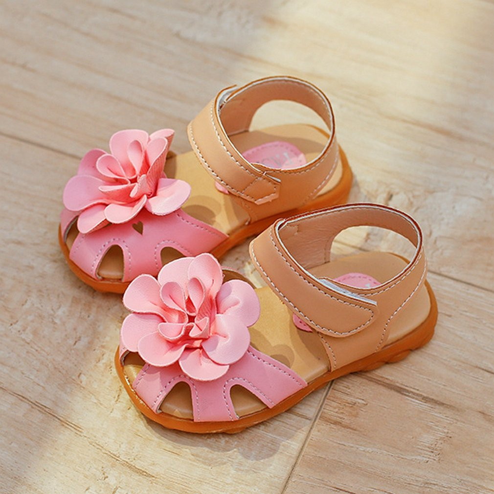 CYBLING Girls Summer Sandals Soft Closed Toe Solid Flower Princess Flat Shoes Toddler//Little Kid Pink