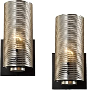 Vintage Wall Sconces Set of 2, Nickel Sconces Wall Lighting with Grid Mesh Shade, Industrial Hardwire Wall Sconces for Bedroom Bathroom Home Theater, UL Listed