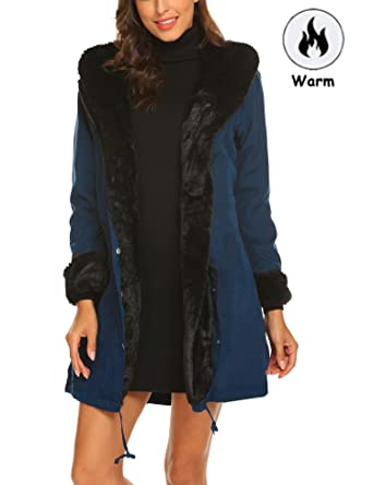 e9eb40e6db975 Shine Womens Parka Jacket Hooded Winter Coats Faux Fur Coat Outdoor ...