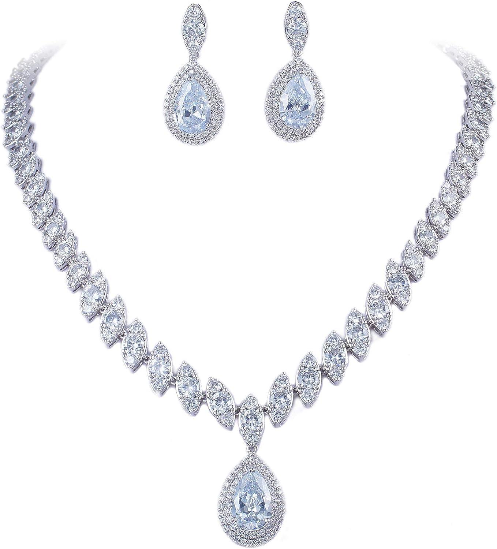 Twinkling Flower Drip Crystal Wedding Austrian Crystal Necklace Earrings Set