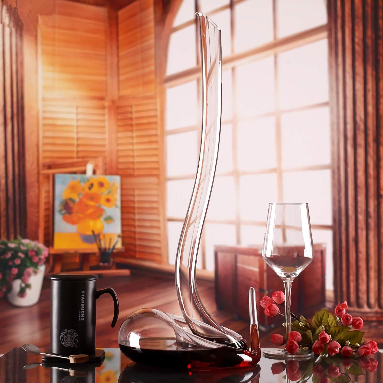 Carafe /à d/écanter /à vin rouge souffl/é /à la main sans plomb de haute qualit/é perles de nettoyage d/écanteur /à vin rouge en cristal en forme de serpent 1800 ml pour mariage anniversaire