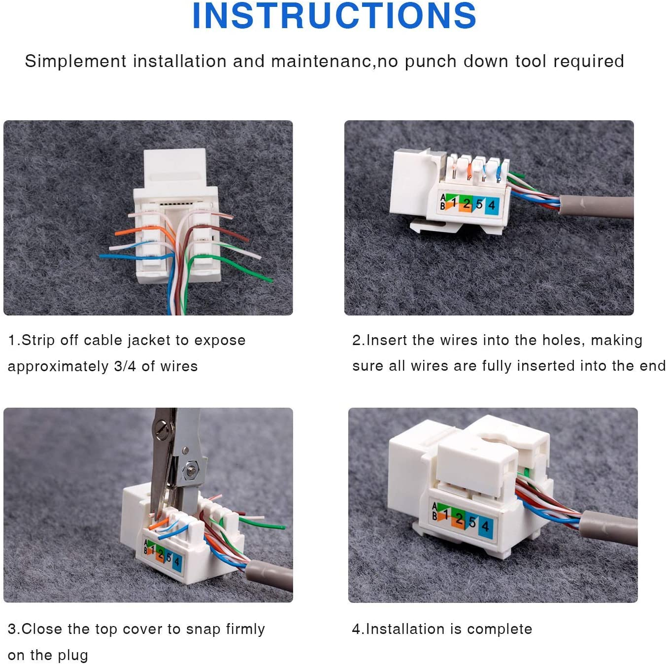 Amazon.com: Keystone Jack RJ45 Ethernet Module Cat6 Network Coupler Punch  Down Adapter Compatible Cat 6/5e/5 Connector(10-Pack White): Computers &  Accessories | Two Jacks Cat 6 Wiring |  | Amazon.com