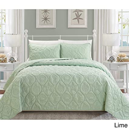 3 Piece Seafoam Green Embossed Seashell Themed Bedspread Queen Set Beautiful Classic Coastal Seahorse Bedding Hexagon Textured Summer Vacation Ocean