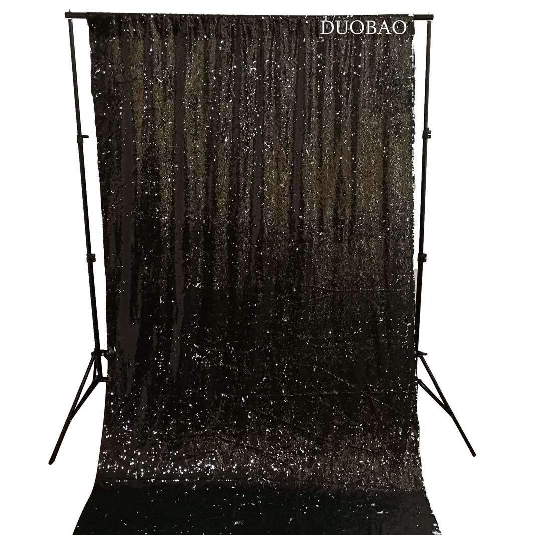 DUOBAO Sequin Backdrop 8Ft Mermaid Sequin Curtains Black to White Reversible Shimmer Backdrop 6FTx8FT Sparkle Photo Backdrop by DUOBAO (Image #3)