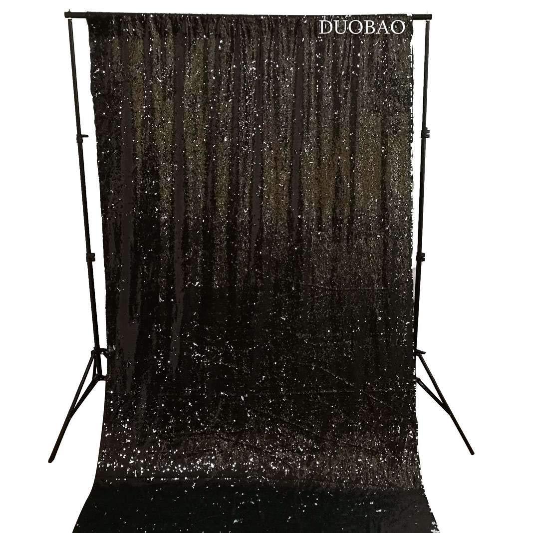DUOBAO Sequin Backdrop 8Ft Black to White Mermaid Sequin Backdrop Fabric 6FTx8FT Two Tone Sequin Curtains by DUOBAO (Image #3)