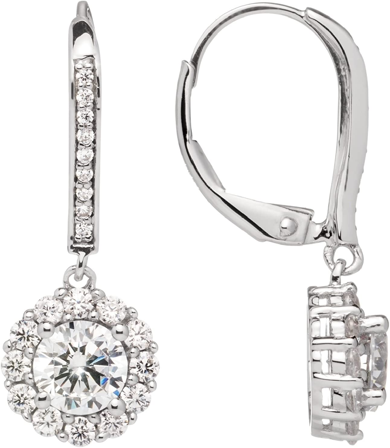 "14K Solid White or Yellow Gold Leverback Earrings | Round""Halo"" Cubic Zirconia Drop Dangle 