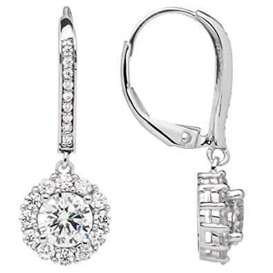 """8bc1ce011 14K Solid White Gold Leverback Earrings   Round""""Halo"""" Cubic  Zirconia   Drop Dangle"""