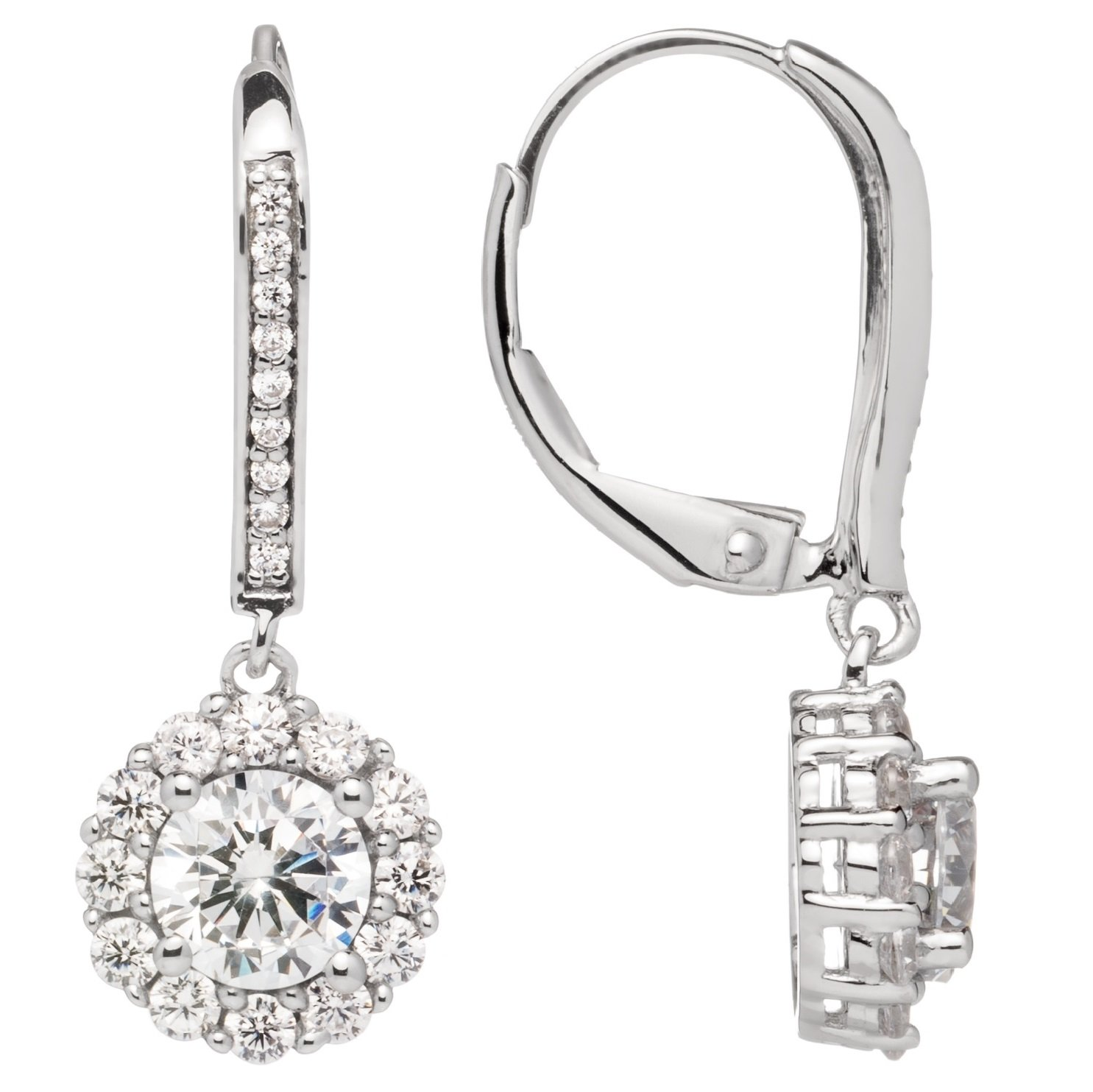 14K Solid White Gold Round Cut Cubic Zirconia Leverback Earrings, Drop Dangle Basket Setting (.63 ct center, 1.0 cttw each, 2.0 cttw pair), Gift Box