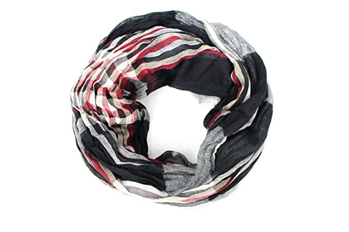 88a9911c0 Pop Fashion Women's Long Tissue Scarf with Frayed Design and Scrunch Texture  (Black, White