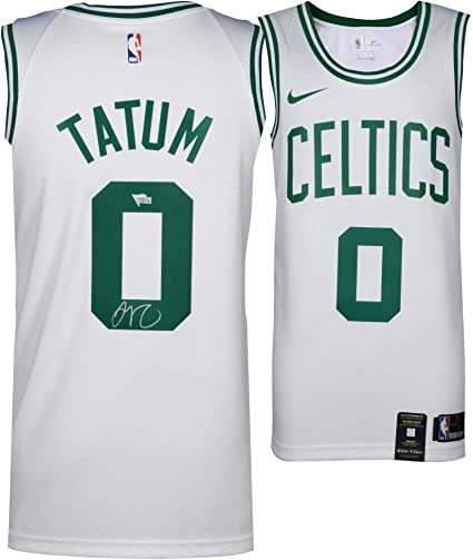 competitive price 62b27 c449e Jayson Tatum Boston Celtics Autographed Nike White Swingman ...