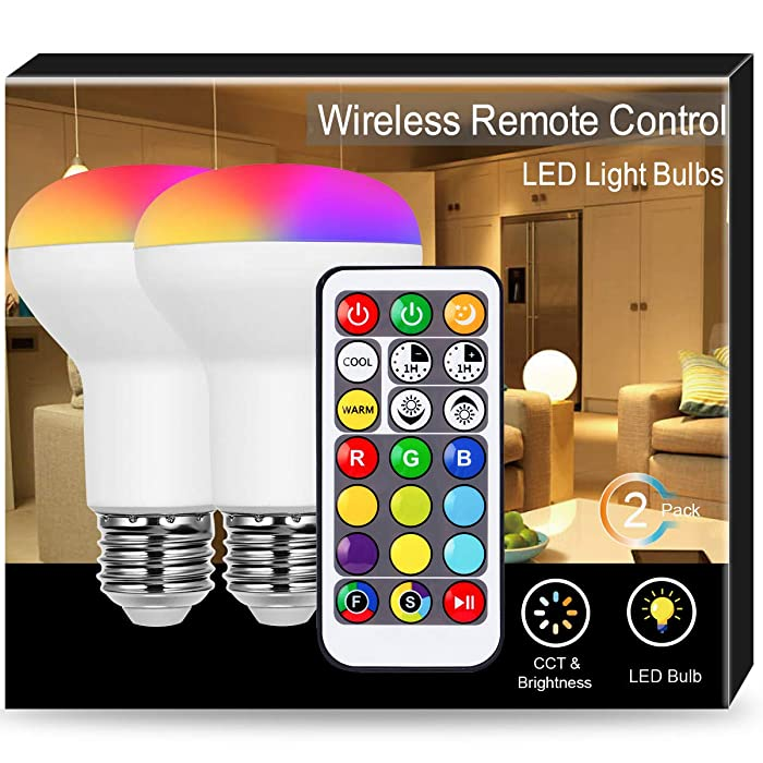 JandCase BR20 LED Light Bulbs, Color Changing Light with Remote Control, RGBW, 8W, 50W Equivalent, 550lm, Dimmable Flood Light Bulbs for Home Decoration, Track Lighting, Party, E26 Base, 2 Pack