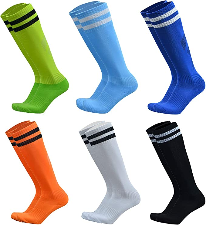 VWU Unisex Knee High Double Stripes Athletic Soccer Football Tube Socks for Adults&Children
