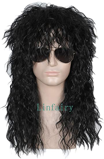 Amazon.com: linfairy 80s Heavy Metal Halloween Mullet ...