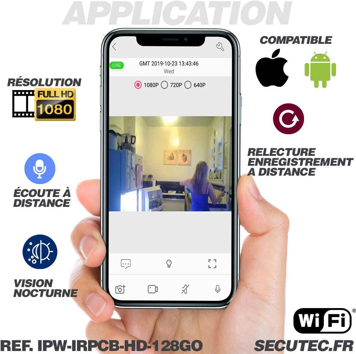 microSD 128 Go Incluse Active Media Concept Routeur W-FI cam/éra Espion WiFi discr/ète avec Vision Nocturne et Enregistrement HD Autonome