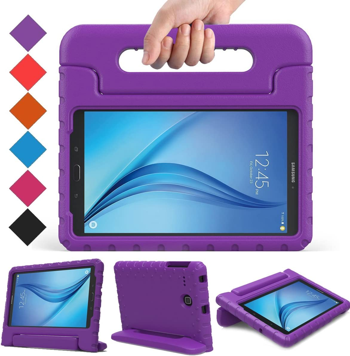 BMOUO Kids Case for Samsung Galaxy Tab E 8.0 inch - EVA ShockProof Case Light Weight Kids Case Super Protection Cover Handle Stand Case for Kids Children for Samsung Galaxy TabE 8-inch Tablet - Purple